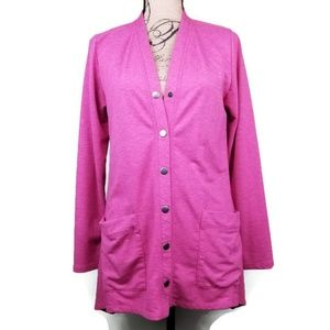 Oversized Pink Asymmetrical Cardigan Womens S